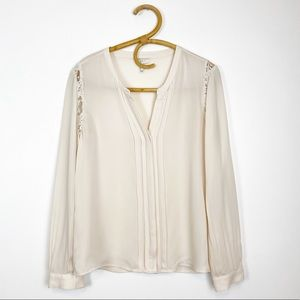 Joie | Silk Pleated Blouse with Lace Detail